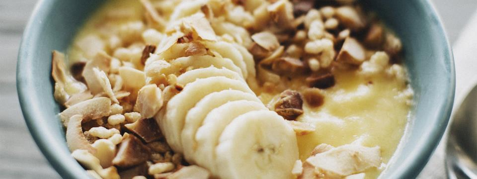 banana, smoothie, bowl, nuts, recipe, healthy,
