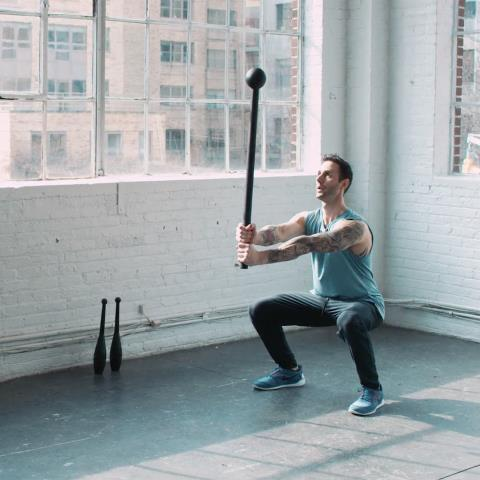 mace, club, workout, video
