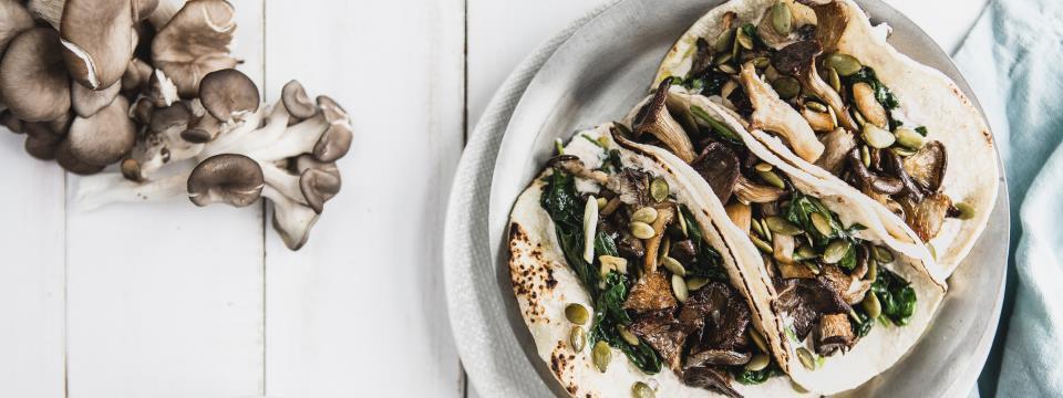 recipe, mushroom, spinach, tacos, veggie