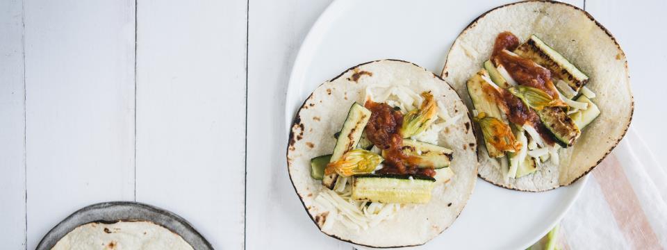 zucchini blossom tacos, recipe