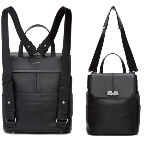 Carven, Black Two Ways Clasp Backpack