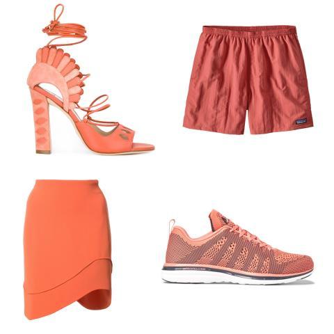 coral, clothes
