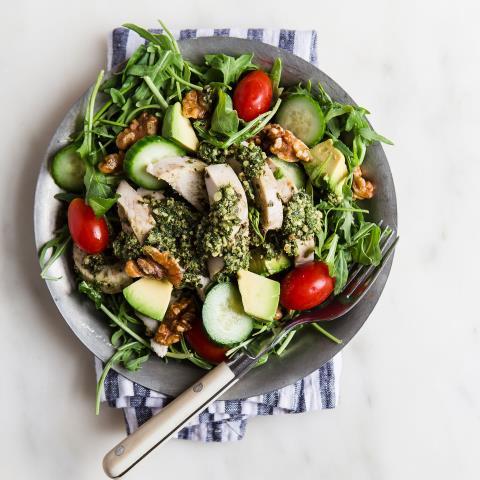 meal prep, chicken, salad, pesto