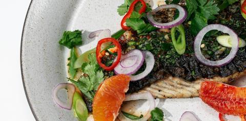 Barramundi, Asian, Salsa Verde citrus, Fennel Salad, recipe