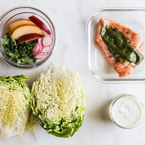 salmon, salad, modern proper, meal prep, recipes