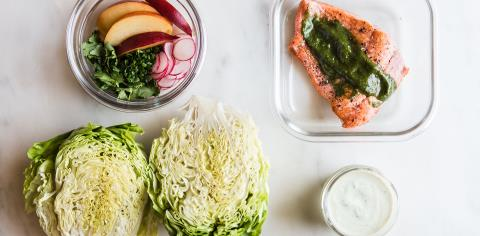 salmon, salad, modern proper, meal prep, recipes