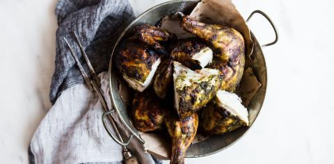 spatchcocked, chicken, meal prep, modern proper, green goddess