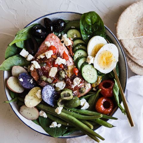 Mediterranean, salmon, salad, meal prep, modern proper