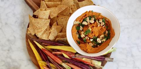 sweet potato, cashew, dip, vegetarian, party, recipe, simple,
