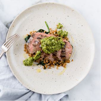 PUMPKIN SEED PESTO FLANK STEAK