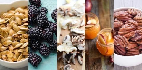 fall, autumn, superfoods, apple cider, blackberries, oyster mushrooms, pecans