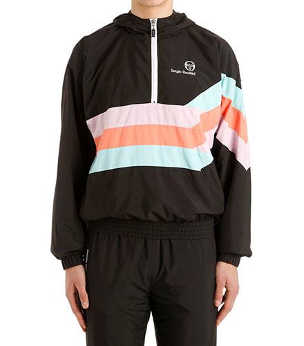 Sergio Tacchini 90s Hooded Half-Zip Windbreaker Jacket