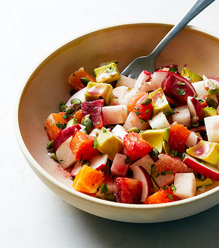 JICAMA SALAD WITH HIBISCUS VINAIGRETTE