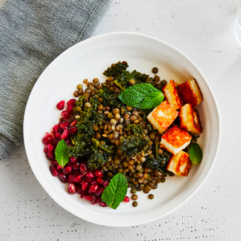 HALLOUMI AND GREENS LENTIL BOWL