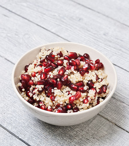 QUINOA WITH POMEGRANATE, NUTS AND SOFT HERBS