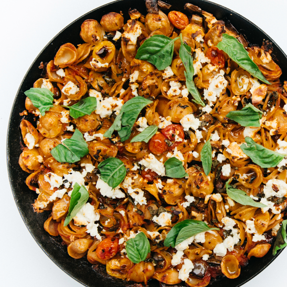 Skillet-Baked Farro Pasta with Eggplant
