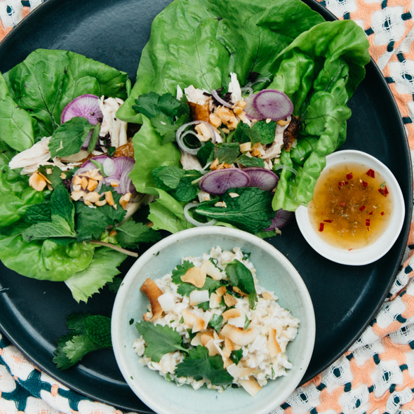Thai Chicken Lettuce Wraps with Rice