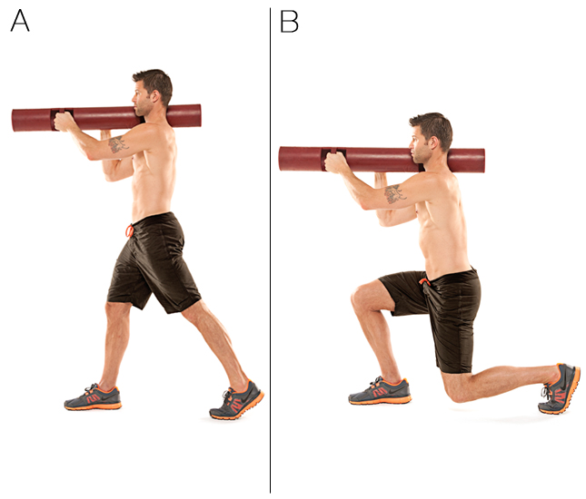 Split Squat with Bazooka Hold