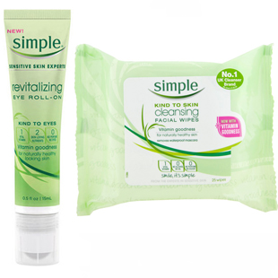 Simple Cleansing Facial Wipes and Simple Revitalizing Eye Roll-on
