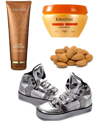 Lancome Flash Bronzer, Keraste Oleo Relax, silver Adidas High Tops, almonds