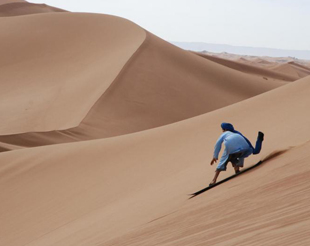 Sandboarding/Sand Skiing in the Sahara