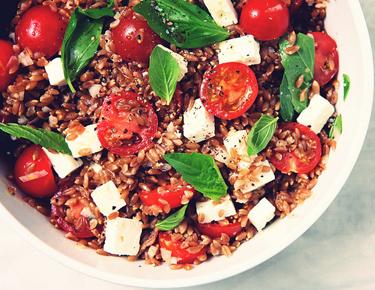Food porn, la buena vida, Warm Farro Salad with tomatoes, basil and feta, nicole franzen, health, nutrition, eating