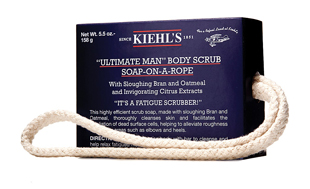 "Kiehl's ""Ultimate Man"" Body Scrub Soap On a Rope, kiehl's, soap, rope soap, men's, grooming, skin, body"