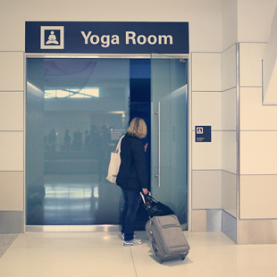 San Francisco, California, Terminal 2, airport, Yoga room, yoga, SFO, travel, health, exercise, relax, healthy