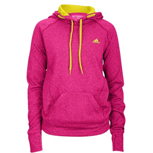 Adidas, hoodie, pink, yellow, long sleeve, pockets, gym clothes, workout, exercise, thumbholes, fitness, yoga, pilates, running, wear
