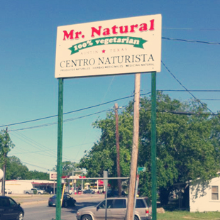Mr. Natural, Austin, Texas, 100% vegetarian menu, vegetarian, restaurant, bakery, juice bar, health food store, vegan, hatha yoga, Tex-Mex