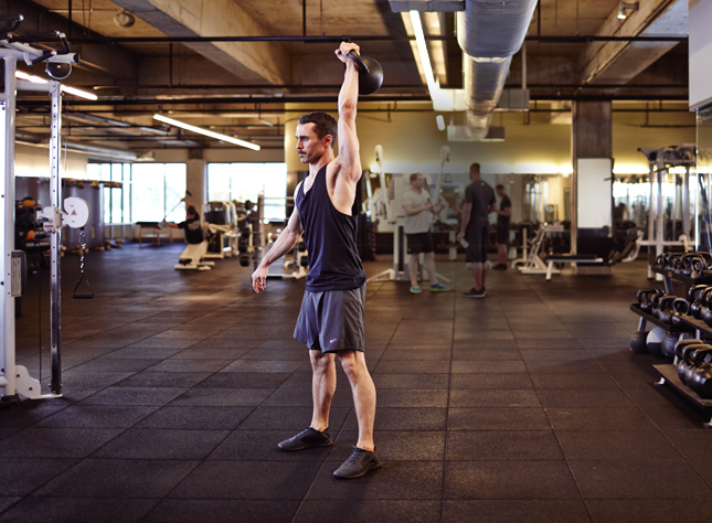 Scientifically-Proven Workout, UCLA, California, workout, fitness, health, exercise, gym, body, cycle 3, strength, kettlebell clean, overhead press, hip hinge