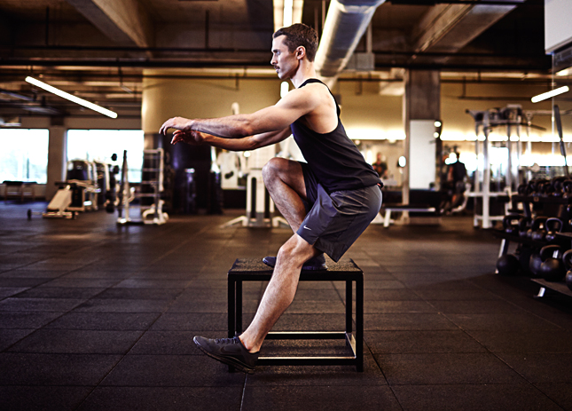 Scientifically-Proven Workout, UCLA, California, workout, fitness, health, exercise, gym, body, cycle 3, strength, single leg squat, box