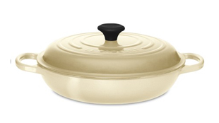 Q Blog, Food52, Le Creuset Shallow Round Braising Pan in Dune, cooking, kitchen, eating, baking, braised chicken dish, casseroles,