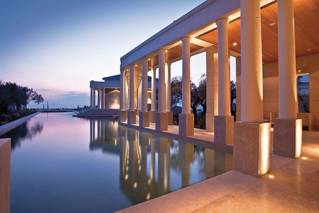 Q by Equinox, Beach Hotels, Modern architecture, vacation, healthy hotels, beach resorts, lifestyle, travel, Amanzoe, Greece, Mediterranean, yoga pavilion