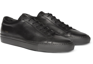 Common Projects, shoes, black leather low lace-ups, sneakers, fashion, style