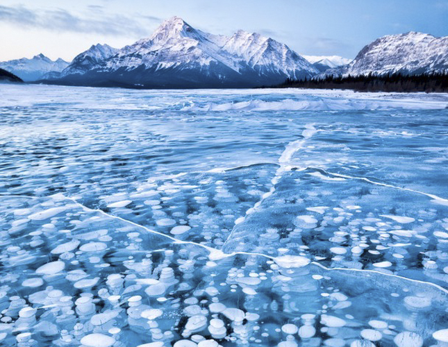 Abraham Lake, Alberta, bubbles frozen in lake, mountains, nature, lake, travel