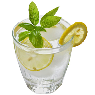 fresh lemon water, meyer, lemon water, h2o, immune booster, mint, basil